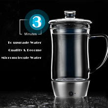 450ML Water Cup Hydrogen Rich Water Ionizer Bottle Generator Rechargeable Heat-resistant Office Style Glass Water Pitcher Cup
