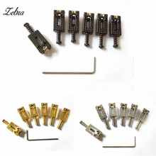 Zebra 3 Colors 6pcs Metal Roller Bridge Tremolo Guitar Saddles With Wrench For Musical Instruments Electric Guitar Ukelele Part(China)