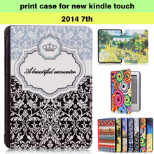 pu leather print case for amazon new kindle case cover touch screen 2014 kindle 7th generation ereader+screen protector+stylus