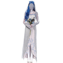 High Quality Fancy Women's Dead Bride Costume Gothic Halloween Fantasia Fancy Dress Long White Dress Cosplay Costume