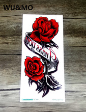 WU&MO QC666 20X10cm Long Colorful High Solution Body Art Red Rose Flowers Circle Design Temporary Fake Flash Tatoo Sticker Taty
