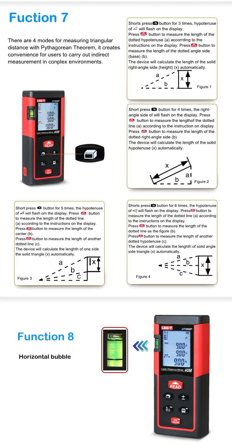 UNI-T UT390B+ UT391+ Laser Distance Meter Handheld 40M 60M Rangefinder Self-calibration Level Monitoring Automatic Calibration