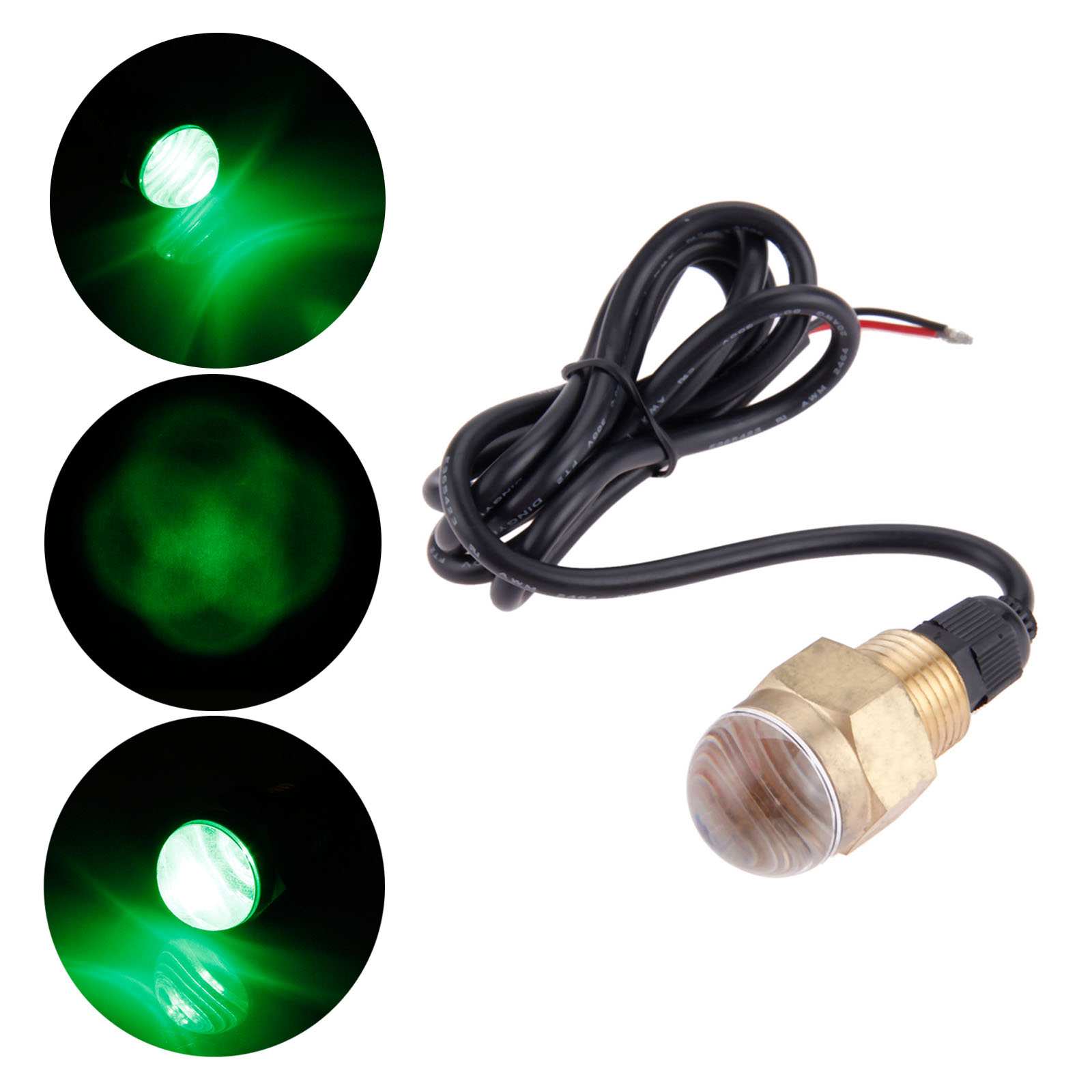 Boat Accessories Brass Super Bright Green LED Light 12V Waterproof Underwater Lamp For Marine Yacht Pontoon Fishing Sailing