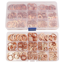 280pcs Copper Washers Set M5-M20 Solid Copper Washer Gasket Sealing Ring Assortment Kit Set with Case 12 Sizes
