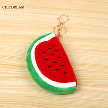 Hot Selling Watermelon Shape Faux Fur Plush Metal Keychain Lovely Keyring Coin Purse Accessories Children Birthday Gift