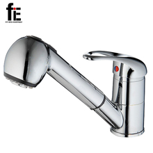 fiE High Quanlity Double Surface Full Brass Faucets New Design Hot And Cold in 1 Stretchable Kitchen Faucets(China)