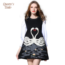 Queen's Tailo Fashion Runway Swan Embroided Dress Woman Spring Midi Dress Casual Work