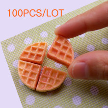 Tanduzi Wholesale 100pcs 1/4  Miniature Waffle Flatback Cabochon Sweets Deco Resin Craft