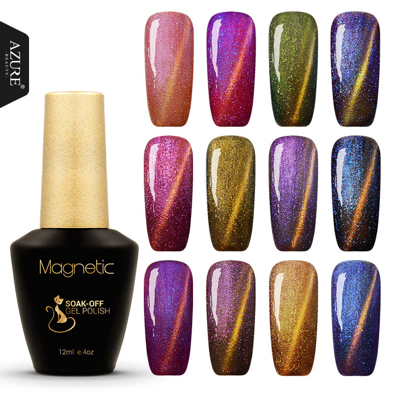 Azure Beauty 12ml Newest 12 Color Nail Gel Chameleon Gel High Quality Gel magnetic Varnish New Style UV Gel Nail Polish(China (Mainland))