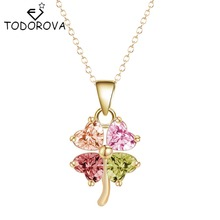 Todorova Colorful Four Clover CZ Zircon Stones and Crystals Necklace Jewelry Accessories for Women Discount