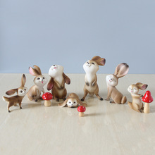 Lovely Rabbit Figurines Artware Resin Cute Bunny Figures Ornaments Doll With Mushrooms Home Decoration 3 Pcs/set Free Shipping
