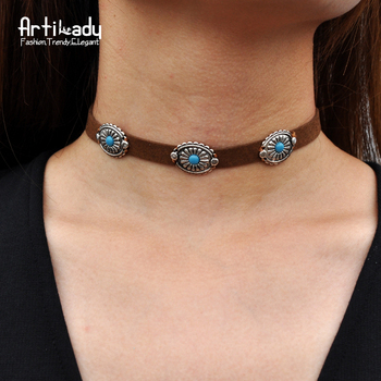 Artilady pu leather choker necklace vintage Bohemia zinc alloy resin chokers necklace for women jewelry