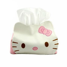 PU Leather Hello Kitty Cute Home Car Tissue Case Box For Napkin Papers Decoration Holder Box Cover New