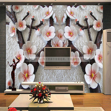 beibehang wallpaper 3D wall mural papel de parede photo wall paper Chinese Embossed TV 3d mural wallpaper for walls 3 d(China)