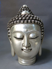 "zhmui88002840886++9"" China silver carved buddhism lucky Shakyamuni buddha head sculpture Statue(China)"