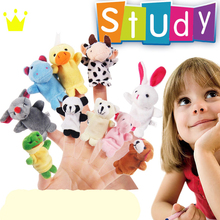 10pcs Cute Cartoon Animal Story Dog Rabbit Duck tortoise Baby Plush Toys Finger Education in Hand Puppet Toy For kinds(China)