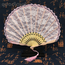 Free Shipping 30pcs Wholesale Pink White Foldable Lace Trim Hand Fan Portable Party Dancing Fabric Folding Held Hand Fan(China)
