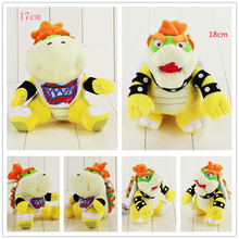2pcs/lot 18cm and 17cm Bowser Koopa plush cartoon doll toys Hot Game Super Mario Bros Bowser JR kawaii soft stuffed doll for kid(China)