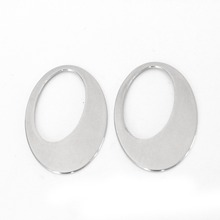 10pcs/lot 25x39mm 2016 New Stainless Steel Earrings Findings & Components Oval Blank Metal Charm Tags for Stamping Jewelry F3363(China)