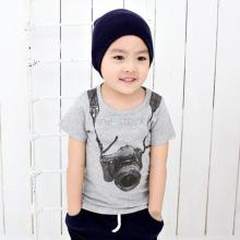 Kid Boys Camera Print T-shirt Short Sleeve Pullover Shirt Tops 2-7Y Baby Clothes