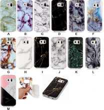 New For Samsung Galaxy S6,S6 edge Blue White Green Black Marble Designs High Quality Phone Case Gloss TPU Soft  Back Case Cover