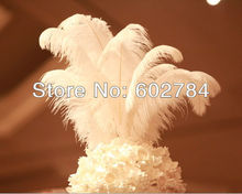 "Free Shipping 100pcs/lot white ostrich drab feather ostrich plumes 16-18"" 40-45cm for wedding decoration"