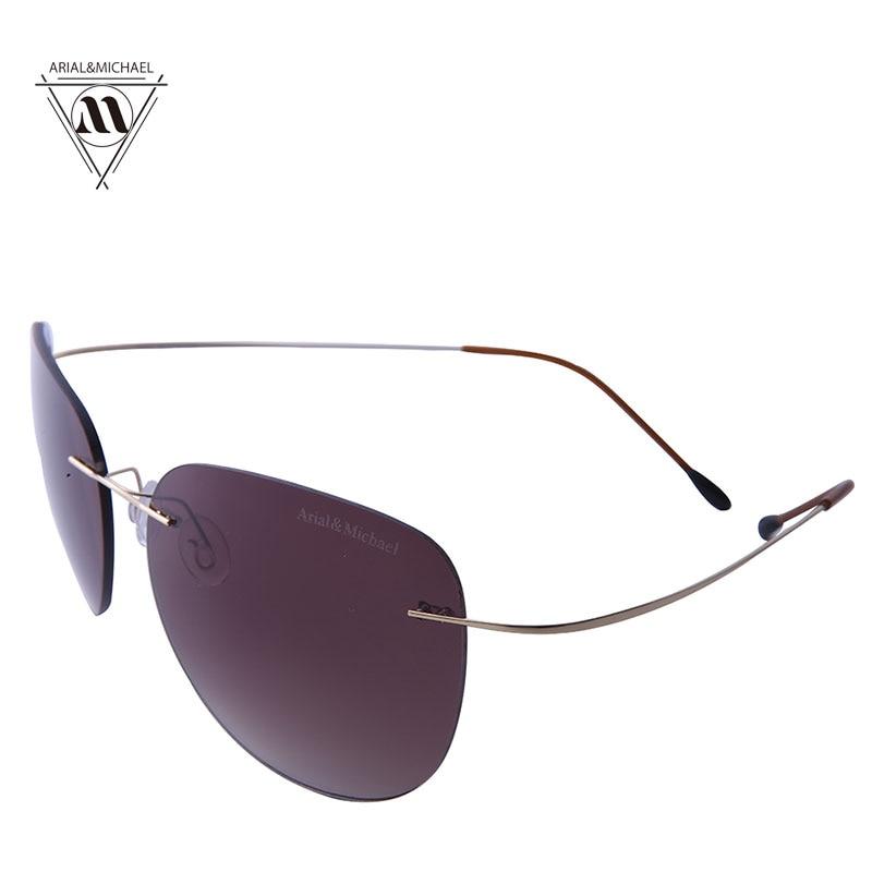 Arial&amp;Michael Men Driving Sunglasses Anti-Glare Eye Protection HD Polarized Purple Nylon Lens Titanium Bridge Sun glasses 8205<br><br>Aliexpress