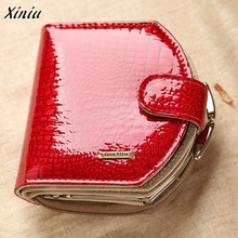 Women Leather Wallets Dollar Price Card Holder Cute Solid Color Small Purse Ladies' wallet zippered buckle patent Bags wallet(China)