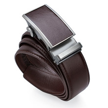 Coffee Men's Leather Belt Automatic Buckle Belt for Business Luxury Split Leather Belt Strap for Boss(China)