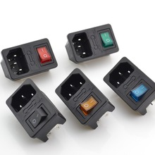 Brass Parts ! 5pcs ! with 10A fuse ! Red Rocker Switch Fused IEC 320 C14 Inlet Power Socket Fuse Switch AC Socket(China)