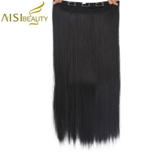 AISI BEAUTY 17 Colors 22inch(55cm) Long Straight Lady Clip in Hair Extensions Black Brown High Tempreture Synthetic Hairpiece