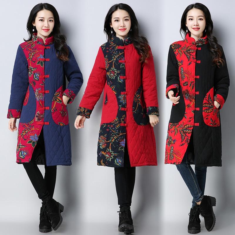Chinese Style Winter Coat 2017 New Autumn and Winter Vintage Outwear Women Floral Print Long Cotton-Padded Jacket ParkaÎäåæäà è àêñåññóàðû<br><br>