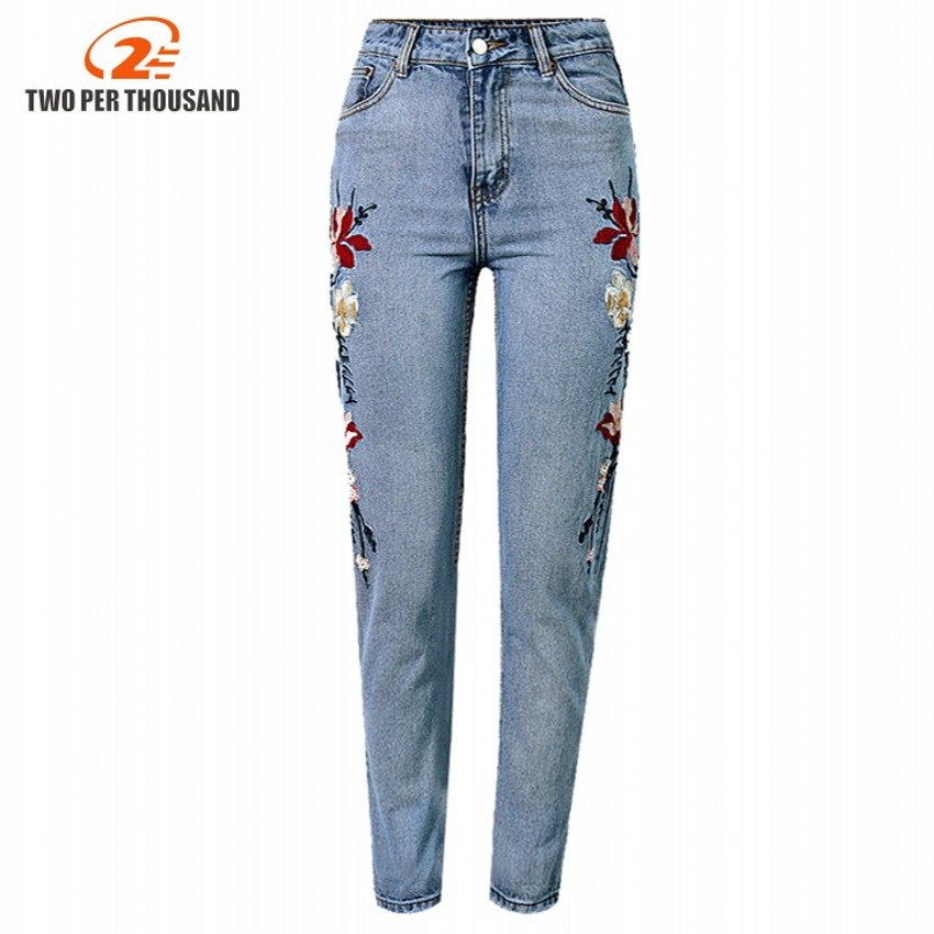 Floral embroidery jeans female Autumn Winter zipper straight denim pants jeans women Fashion pocket light blue trousers jeansÎäåæäà è àêñåññóàðû<br><br>