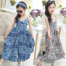 New 2017 European Style Children's Dress for Girl Floral Summer Cool Wide Leg Pants Jumpsuit Girls Beach Wear Personality Dress