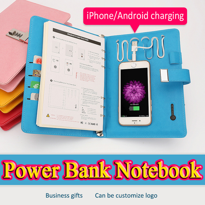 agenda 2017 coded lock diary 6000mAh power bank school diary battery charging filofax a5 stationery can customized lock book<br>