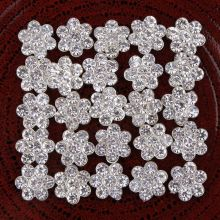 11mm Flower Alloy Rhinestone Button Flat Backs Crystal Button Embellishment Headband Supplies Flower Center AE537