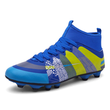 2017 New Original Men Training Football Size 35-44 Football Spikes Shoes Green/Blue Soccer Cleat Leather  High Top Soccer Boots