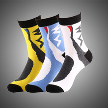 2017 New cotton mountain bike socks cycling sport racing bike socks outdoor sox sports brand white blue quick dry crew(China)