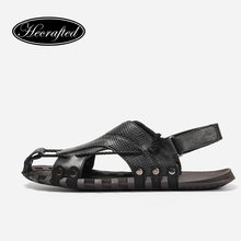 Natural leather men gladiator sandals HECRAFTED 38~47 fashion summer male shoes #7553(China)