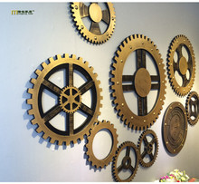 1PC Longming Home New NVintage Home Bar Club Wall Decorations Wooden Crafts Wheel Gear Design Wooden Ornaments JL 037(China)