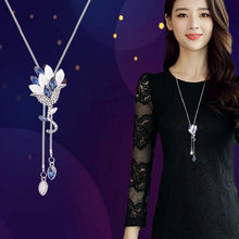 2018 New Flower Tassel Long Necklace Temperament Women Pendant Dress Accessories Sweater Necklace Korean Jewelry(China)
