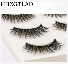 HBZGTLAD 3pairs/box 3D false eyelashes 100% Handmade transparent stalk crossing fiber super soft clear band silk lashes(China)
