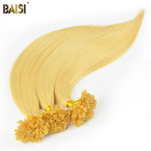 BAISI European Remy Hair Extension Blonde Straight Nail/U Tip Human Fusion Hair, 0.5g/strand, 100strands/lot, Free Shipping(China)