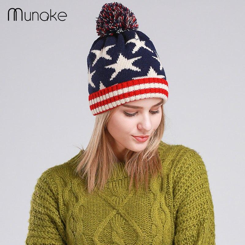 Brand 2016 Women Winter Hats skullies Beanies Knitted Cap Crochet Hat Pompons Ear Protect Casual Cap female dot warm fashion hatÎäåæäà è àêñåññóàðû<br><br><br>Aliexpress