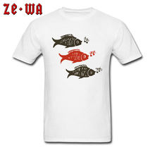 Fish Group T-shirt Men Casual White T Shirt Music Lover Fisher Tops Custom Tribal Tattoo Tees 100% Cotton Fitness Clothes Funny(China)