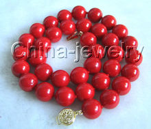 Hot sell Noble- FREE SHIPPING> @@ Hot sale S Gorgeous AAAA 10mm natural perfect round red coral necklace14k gold flower clas