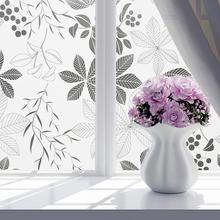 45x100CM/45x200CM Matte Flower Print Sunscreen Heat Protective Window Film PVC Privacy Covering Bath Glass Sticker Home Decor