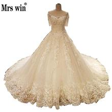 Wedding Dress The Bridal High-end Short Sleeve Luxury Lace Embroidery O-neck Classic Sweep Train Noble Ball Gown F(China)