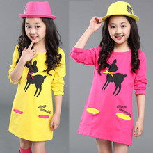 Girl Dress with Cartoon Deer Pattern 2017 Long Sleeve Cotton Dress Spring Girls' Knee Length Dresses Girls Spring Dress Vestidos