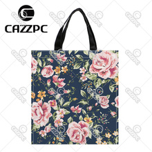 Black Vintage Pink Watercolor Floral Allover Pattern Print Custom individual waterproof Nylon Fabric shopping bag gift bag